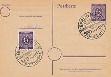 GERMANY (Allied Zone) : 1946 6pf Postal Stationery  card used 'Mutual Party Day'