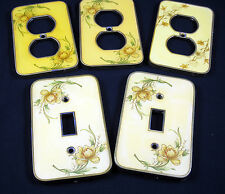 Light Switch Plate Outlet Covers Vintage 1940s Brass Porcelain Decorative Floral