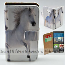 Wallet Phone Case Flip Cover for HTC One M9 - Two White Horses Hi-Res Print