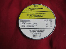 1963 1964 CHEVROLET CORVAIR / MONZA / SPYDER DOOR TIRE PRESSURE DECAL