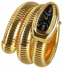 Fanmis Black Dial Gold Snake Shape Pop Double Wrap Fashion Ladies Wrist Bangle
