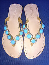 NEW 7 MYSTIQUE Turquoise Crystal Rhinestones Gold Leather Thong Sandals NIB