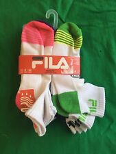 Fila Womens Swift Dry Ankle Socks 6 Pair New White, multicolored accents