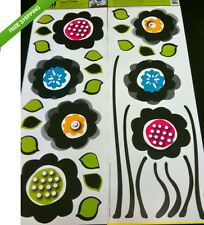 GROOVY BLACK RETRO FLOWERS wall stickers 31 decals leaves stems teen garden