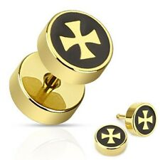 Iron Cross with Black Inlay Fake Plug Gold IP Over 316L Surgical Steel Pair