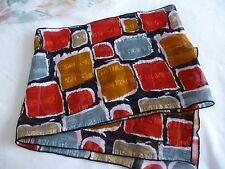 New Lady's Black Chiffon Scarf with Red/Grey/Gold Block Design Outlined in White