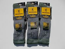 Browning Made In USA Merino Wool Blend Tall Boot Socks Size 9-13 Three Pairs