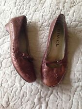 Anthropologie BIVIEL Brown Leather Mary Jane Shoe flats, EUR 38 /US 7 7.5