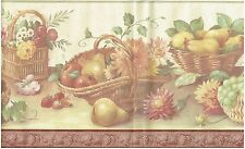 FLOWERS PEARS AND APPLES IN BASKETS STRAWBERRIES ON SHELF  Wallpaper bordeR Wall