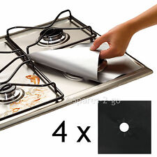 4 x UNIVERSAL Teflon Gas Hob Black Liner Non Stick Lining Easy Clean Protector