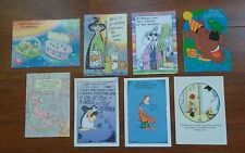 8 Vintage Greeting Cards--Famous Cartoon Characters--Scrapbook, Collage, Cards