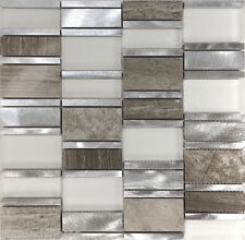 Sample Gray Metal Glass Natural Stone Blend Mosaic Tile Kitchen Backsplash Sink
