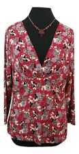EAST Top Size 16 Red Grey Floral Designer Summer Holiday Evening Party Everyday
