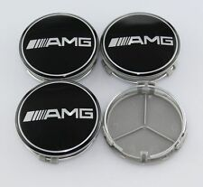 New AMG Black White 4pcs Emblem Badge Wheel Center Cap For MERCEDES BENZ