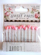 Dovecraft Sweet Paris 10 Stick Pins with pink Hearts