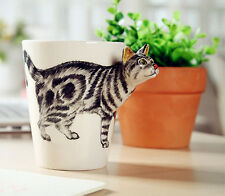 Unique 2016 home bar COOL 3D handpainted CAT coffee MILK mug WATER cup beer cup