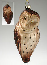 "Blown Glass OWL Ornament 5"" Woodland Bird With Lustrous Color"