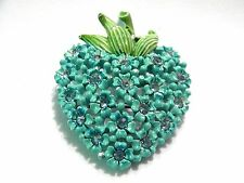 Gorgeous Turquoise Blue Enamel Floral Pin with Rhinestones and Green Enamel Stem