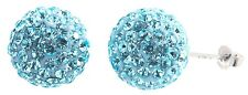 Sterling Silver Sky Blue Sparkling Crystal 12x20mm Round Ball Stud Earrings