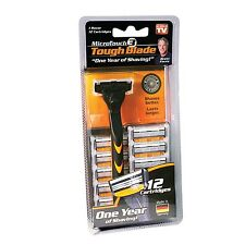 MicroTouch TOUGH BLADE Triple-Blade Razor with 12 Refill Cartridges