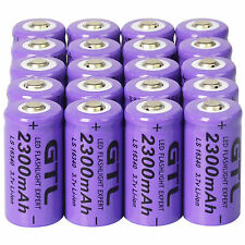 20x 3.7V CR123A 16340 2300mAh Purple GTL Rechargeable Battery Cell - Flashlight