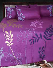 SAVANNA PLUM Double Flocking Quilt Doona Duvet Cover Set NEW
