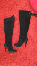 Over the knee black leather women boots size 6