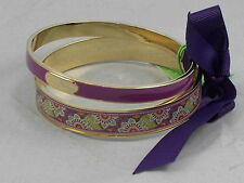 Vera Bradley Purple PLUM CRAZY Floral Print Bangle Bracelet 2 Piece Set $48