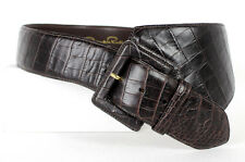 OSCAR DE LA RENTA Dark Brown Croc-Embossed Wide Asymmetric Belt S