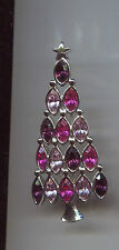 LIA PINK CLEAR FUSCHIA CHRISTMAS TREE PIN silver