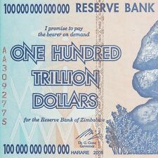 5 X 100 TRILLION DOLLAR ZIMBABWE CURRENCY 2008, AA, About Uncirculated (AU)