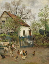 Huge art Oil painting warm farm house with animals donkey hens cocks canvas 36""