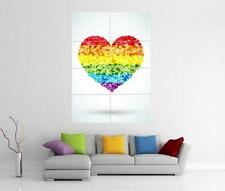 RAINBOW LOVE HEART FLAG LGBT GAY PRIDE WALL ART PHOTO PIC PRINT POSTER