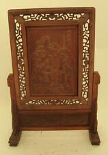 Chinese Carved Wooden Screen on Stand - Oriental Men Scene - 67cm High