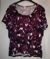 round scoop neck purple pink white black printed tee t-shirt top jersey size 12