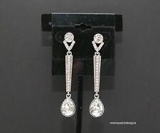 Silver Tone Clear Crystal Tear Drop Pendant Earrings US Free Ship