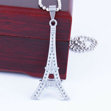 Fashion Paris Eiffel Tower Crystal Rhinestone Necklace Pendant Chain Jewelry NEW