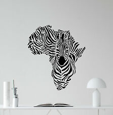 Zebra Africa Map Wall Decal Wild Animal Nursery Vinyl Sticker Decor Mural 47hor