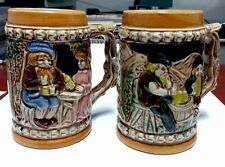 PAIR GERMAN TYPE BEER STEINS MADE IN JAPAN EXCELLENT PAINTING STANDS 4.5 INCHES