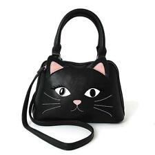 Black Kitty Cat Face Black Satchel Hand Bag Purse Kawaii Goth Alternative Grunge