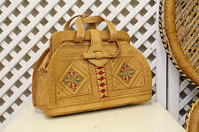 Vintage brown tan leather 70s tooled boho moroccan brief case handbag