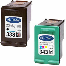 HP 338 Black & 343 Colour Ink Cartridge for Photosmart C3180 Inkjet Printers