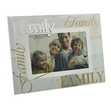 Glass 6 x 4 Photo Frame with Mirror Glass & Glitter Letters - Family