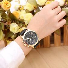 Unisex Women's Geneva Watch Stainless Steel Leather Analog Quartz Wrist Watches