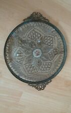 Vtg metallic Net Lace Embroidered Perfume Vanity Tray Plateau Ribbon Bow french