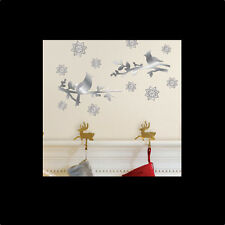 CARDINALS wall stickers 12 mirror decals Snowflakes Holiday Christmas birds