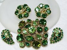 Vintage Green Rhinestone WEISS Earrings & Brooch~KRAMER Earrings~Set~LOT