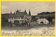 cpa Rare SUISSE SWITZERLAND SCHWEIZ Château de PESEUX en 1904 timbre HELVETIA