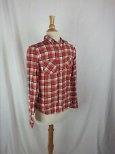 American Eagle Youth Size 14 Red Plaid Western Flannel Button front L/S Shirt