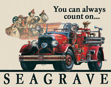 Vintage Replica Tin Metal Sign Seagrave Fire Engine Department fighter truck 695